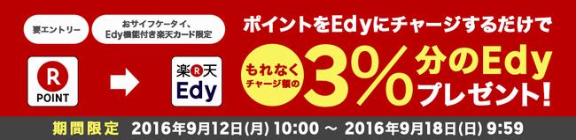 楽天Edy ポイントからのチャージでチャージ額の3%分プレゼント 9/12~9/18