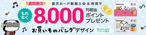 期間限定 楽天カード入会で8,000ポイントプレゼント