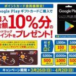 サンドラッググループ Google Play ギフトカード購入で10%分のポイントプレゼント