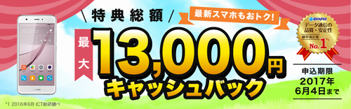 「BIGLOBE SIM」スマホとセットで13,000円キャッシュバック、SIMのみでも5,000円のキャッシュバック