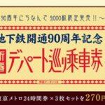 東京メトロ乗り放題券×3枚セットを270円で販売、デパートクーポン付き、9,000枚限定販売【デパート巡り乗車券】