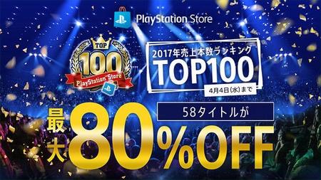 PS Storeで2017年のPS Store売り上げトップ100を特集した最大80%OFFセールを開催 4月4日まで