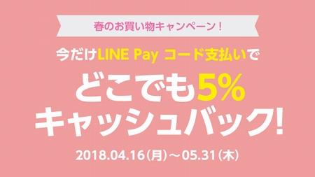 今だけLINE Payコード支払いで5%キャッシュバック『春のお買い物キャンペーン』 5月31日まで