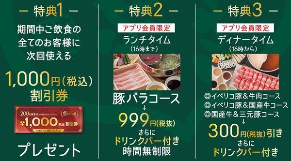しゃぶ葉200店舗達成記念キャンペーン